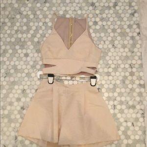 Light pink crop top and skirt